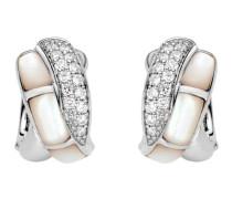 Creolen aus 925 Sterling Silber & Perlmutt mit Zirkonia