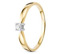 Ring aus 585 Bicolor-Gold mit 0.05 Karat Diamant-50