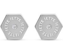 JETTE Silver Damen-Ohrstecker Hexagon 925er Silber 2 Zirkonia