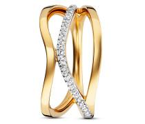Ring Fluid Curves aus vergoldetem 925 Sterling Silber mit Topasen-50