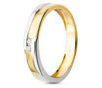 Ring aus 585 Bicolor-Gold mit Diamanten-52