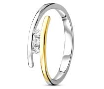 Ring aus 375 Bicolor-Gold mit 0.08 Karat Diamanten-52