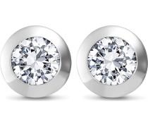 JETTE Silver Damen-Ohrstecker 925er Silber 2 Zirkonia