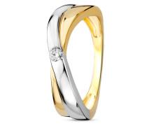 Ring aus 375 Bicolor-Gold mit 0.06 Karat Diamant-52