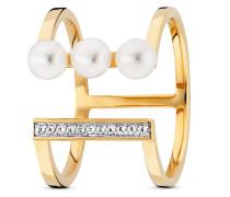 Ring Pure White aus vergoldetem 925 Sterling Silber mit Süßwasser-Zuchtperlen & Topasen-50