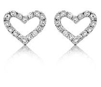 Ohrstecker 'Herz' aus 375 Weißgold mit 0.09 Karat Diamanten