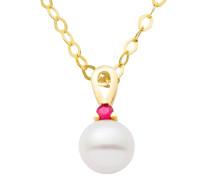 Halskette aus Gold mit Rubin & Süßwasserperle