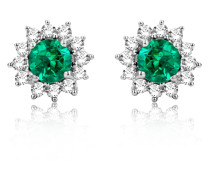 Ohrstecker aus 375 Weißgold mit 0.10 Karat Diamanten & Smaragden