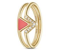 Set mit Ringen Fashion aus Edelstahl mit Koralle-53