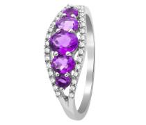 Ring aus 375 Weißgold mit 0.11 Karat Diamanten & Amethysten-52