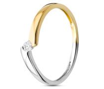 Ring aus 375 Bicolor-Gold mit 0.05 Karat Diamanten-52