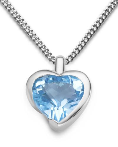 Halskette aus 925 Sterling Silber mit Blautopas