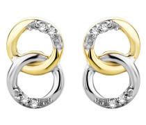 Ohrhänger aus Bicolor-Gold mit 0.2 Karat Diamanten