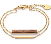 Kerbholz Damen-Armband Edelstahl/Holz