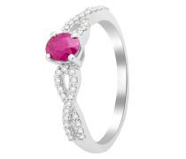 Ring aus 375 Weißgold mit 0.149 Karat Diamanten & Rubin-52