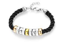 Armband aus Stoff & Edelstahl mit Kristallen