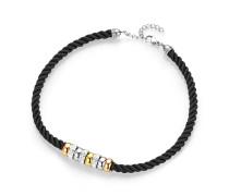 Halskette aus Stoff & Edelstahl mit Kristallen