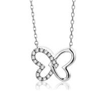 Halskette aus 375 Weißgold mit 0.06 Karat Diamanten