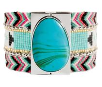 Armband Tosca aus versilbertem Zink, Stoff & Kunststoff-180 mm