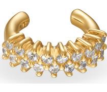 QOOQI Damen-Einzelner Ohrschmuck Ear Cuff 925er Silber 18 Zirkonia