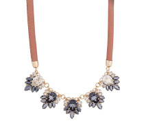 Halskette The Roaring 20s vergoldet aus Leder mit Swarovski-Steinen