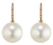 Ohrhänger aus 750 Roségold mit Südsee-Zuchtperlen & Diamanten