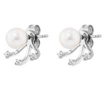 Ear Jackets Ohrstecker Pure White aus 925 Sterling Silber mit Süßwasser-Zuchtperlen & Topasen