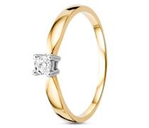 Ring aus 585 Bicolor-Gold mit 0.1 Karat Diamant-50