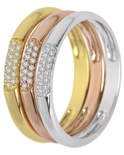 Ring aus 375 Tricolor-Gold mit 0.18 Karat Diamanten-52