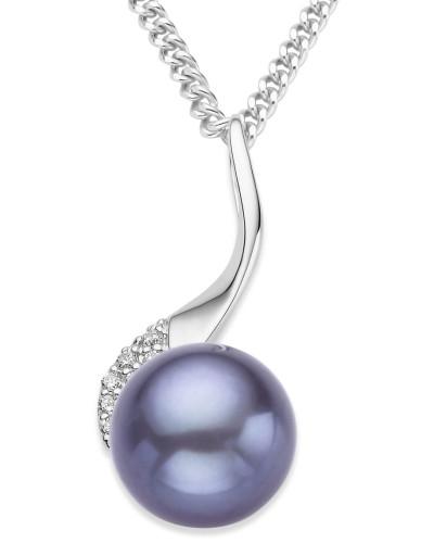 Halskette aus 925 Sterling Silber mit Süßwasserperle & Zirkonia