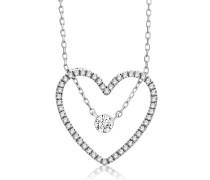 Halskette 'Herz' aus 375 Weißgold mit 0.22 Karat Diamanten