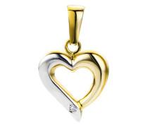 Kettenanhänger Herz aus 375 Bicolor-Gold mit Diamant