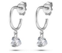 QOOQI Damen-Ohrhänger My Valentine 925er Silber Zirkonia