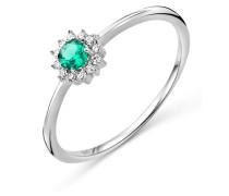 Ring aus 375 Weißgold mit 0.05 Karat Diamanten & Smaragd-52