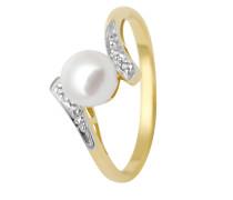Ring aus 375 Gold mit Diamanten & Süßwasserperle-53
