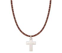 Halskette mit Kreuzanhänger und Lederband braun