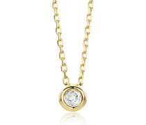 Halskette aus 375 Gold mit 0.05 Diamant