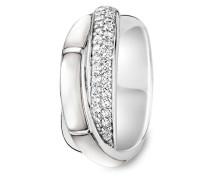 Ring aus 925 Sterling Silber & Perlmutt mit Zirkonia-50