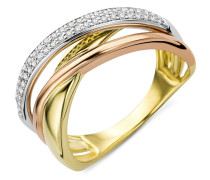 Ring aus 375 Tricolor-Gold mit 0.20 Karat Diamanten-05