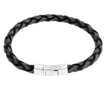Armband Single Wrap Scoubidou aus Leder & 925 Sterling Silber-180 mm
