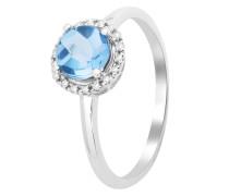 Ring aus 375 Weißgold mit 0.053 Karat Diamanten & Blautopas-52