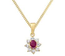 Halskette aus 375 Gold mit Rubin & Zirkonia