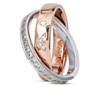 Ring Signature aus rosévergoldetem 925 Sterling Silber mit Zirkonia-56