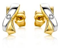 Ohrstecker aus 375 Bicolor-Gold mit 0.05 Karat Diamant