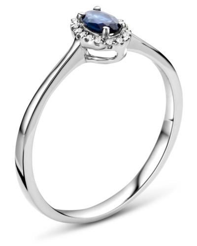 Ring aus 375 Weißgold mit 0.05 Karat Diamanten & Saphir-54
