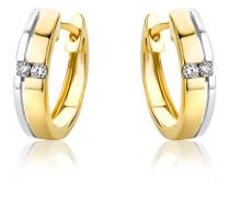 Creolen aus 585 Bicolor-Gold mit 0.06 Karat Diamanten