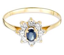 Ring aus 585 Gold mit Saphir und Zirkonia-52