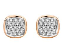 Ohrstecker aus 375 Bicolor-Gold mit 0.10 Karat Diamanten
