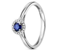 Ring aus 375 Weißgold mit 0.052 Karat Diamanten & Saphir-52