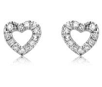 Ohrstecker Herz aus 375 Weißgold mit 0.08 Karat Diamanten
